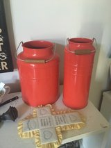 Red jars with handles in Plainfield, Illinois