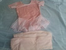 Girls pink velour dance leotard, 2 prs tights Size S in Bolingbrook, Illinois