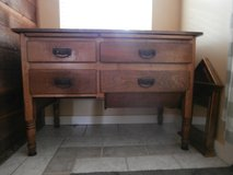 Antique solid wood possum belly bakers table/cabinet in Kingwood, Texas