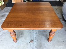 English Antique Dinning Table circa 1870 = Solid Oak Expanding Crank Out Table EXCELLENT in Naperville, Illinois