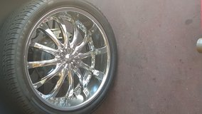24 inch Chrome Custom Wheels and Tires in Tyndall AFB, Florida