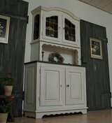 Amazing Shabby Chic China Cabinet Hutch Buffet Stained Glass Doors  - Beutiful Antique Piece! in Ramstein, Germany