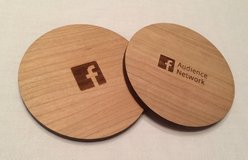 Cherry Wood Coasters Facebook Branded in Cary, North Carolina