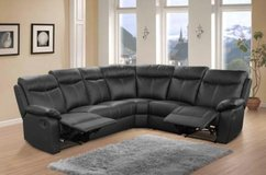 """""""Crown"""" - Leather Recliner Sectional in Black & Dark Grey - price includes delivery in Ansbach, Germany"""