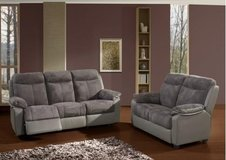 Eugene L R Set in Micro Fiber - Sofa with Dual Voltage Electric Recliners - Loveseat Fix Seats... in Ansbach, Germany
