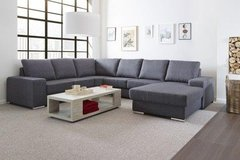 Camden Sectional - Available in Light Gray Linen Material or Black PU - includes delivery in Ansbach, Germany