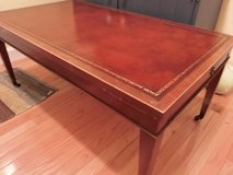 Coffee Table with pull-out sides, on wheels, leather top in Fairfax, Virginia