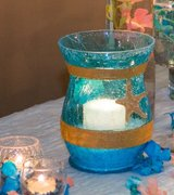 Caribbean Blue Crackle Candle Holder Vase with Starfish and Seashell for Weddings and Parties in Batavia, Illinois