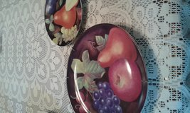 Decorated fruit wall hanging plates (duo) in Wilmington, North Carolina