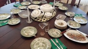 Green English Castle pattern Tranferware and Villeroy and Boch serving pieces in Ramstein, Germany