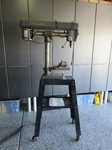 """Sears Craftman 34"""" Radial Drill Press on a Metal Wheeled Stand, Vise, and Manual in Elgin, Illinois"""