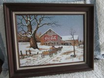 """Winter Farm Scene with Coca Cola Barn by Carson**16"""" x 20"""" with Wood Frame in Algonquin, Illinois"""