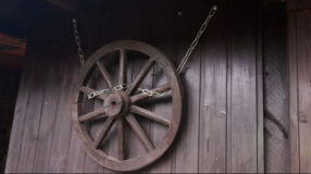 very old wooden wheel for decoration in Ramstein, Germany