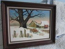 """Hargrove** Oil on Canvas Painting of Winter Barn Scene**16 x 20"""" Wood Frame in Algonquin, Illinois"""