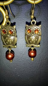 Antique Gold Rust Color Owl Dangle Earrings in Greenville, North Carolina