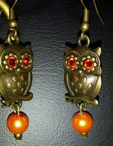 Antique Gold Orange Owl Dangle Earrings in Greenville, North Carolina