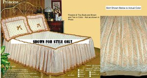 QUILTED TOP TWIN Fitted Toast & Tan Floral NEW BEDSPREAD BELOW COST Made in USA in Wilmington, North Carolina