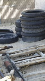 Various motorcycle tires in 29 Palms, California