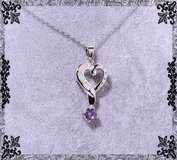 New White Fire Opal and Amethyst Heart Necklace in Alamogordo, New Mexico