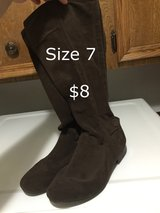 Size 7 seude boots in Kingwood, Texas
