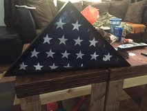 Flag case with flag in Fort Carson, Colorado
