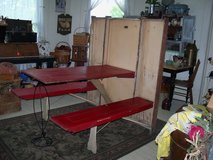 RARE Red Door 3 Piece Murphy Table & Bench Set plus Ironing Board in Fort Leonard Wood, Missouri