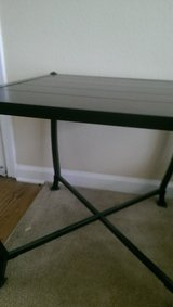 set of two end tables-wood with metal legs and sides in Biloxi, Mississippi