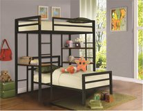 NEW TWIN BUNK BED WITH DESK AND STORAGE WITH BOTH MATTRESS in Riverside, California