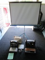Vintage projectors and screen in Moody AFB, Georgia