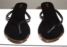 Womens sz 5/6 Black Gold Trim open Toe Flats by Mossimo in Morris, Illinois