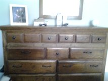 dresser with mirror, matching chest of drawers and a beauty rest king size box springs and mattr... in Hinesville, Georgia