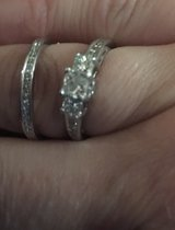 1ct 14k 3 stone White Gold Wedding Set in Moody AFB, Georgia