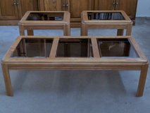 Oak/Glass Coffee Table & End Tables 3 Piece Set in Barstow, California