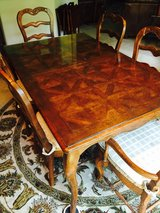 Oak Dining Room Table with Glass Top and 6 Chairs in Conroe, Texas