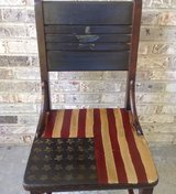 Vintage Wood Chair Painted in Patriotic Flag Style in Bartlett, Illinois