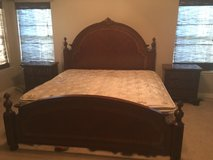 Cherry solid wood Headboard and 2 side dressers in Naperville, Illinois
