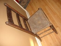 EARLY 1800s PRIMITIVE Ladderback Chair w Cowhide Seat in Aurora, Illinois