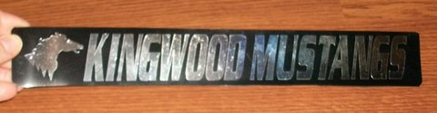 "Kingwood Mustangs Car Magnet Strip High School Spirit 13""X2"" Black & Chrome in Kingwood, Texas"