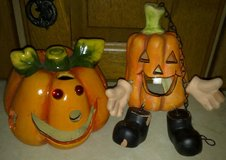 Fall Ceramic Pumpkin Deco / Tealight Candle Holder Set (1 Hangs) in Ramstein, Germany