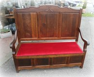 beautiful antique trunk bench in Ramstein, Germany