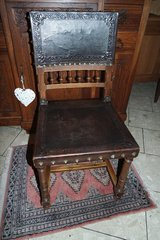 antique Henri II chair with leather seat and back in Spangdahlem, Germany