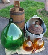 several demijohns and outside decorations in Ramstein, Germany