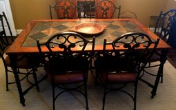 Slate and wood table with 6 chairs in Kingwood, Texas