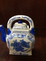 Vintage Blue and White Porcelain Small Teapot with Flowers in The Woodlands, Texas