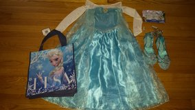 frozen elsa costume+shoes+accessories-size 5/6 in Wilmington, North Carolina