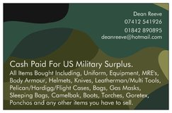 Cash paid for US military equipment and clothing. in Lakenheath, UK
