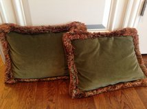 "Pair of Green Velvet Throw Pillow COVERS - 12"" x 18"" in Glendale Heights, Illinois"