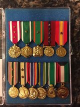 Professionally mounted medals in Camp Pendleton, California