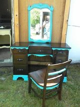 Solid wood vanity w/ mirror and chair in Camp Lejeune, North Carolina