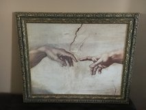 Heavy metal Framed Art Hands of The Creation of Adam painting by Michelangelo in Warner Robins, Georgia